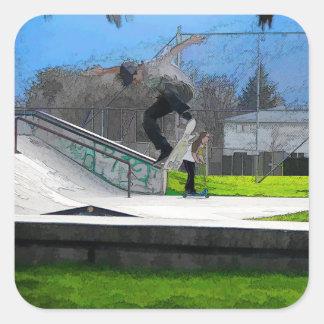 Skateboarding Fool Square Sticker