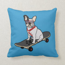 Skateboarding French Bulldog Dog Pillow