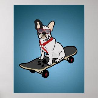Skateboarding French Bulldog Dog Poster