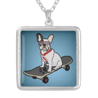 Skateboarding French Bulldog Necklace