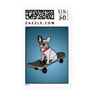 Skateboarding French Bulldog Stamps