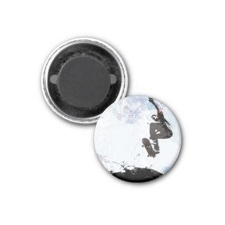 Skateboarding Grunge Layout 1 Inch Round Magnet