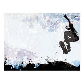 Skateboarding Grunge Layout Postcard