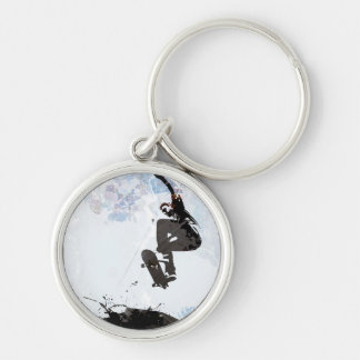 Skateboarding Grunge Layout Silver-Colored Round Keychain