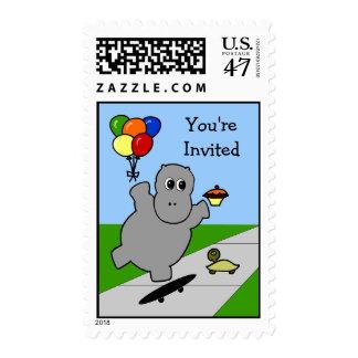 Skateboarding Hippo Party Postage