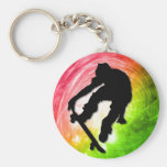 Skateboarding in a Psychedelic Cyclone Keychain