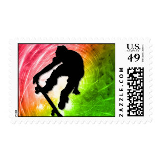 Skateboarding in a Psychedelic Cyclone Postage Stamp