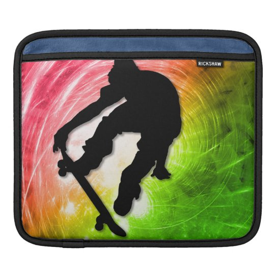 Skateboarding in a Psychedelic Cyclone Sleeve For iPads