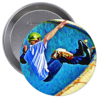 Skateboarding in the Bowl 4 Inch Round Button