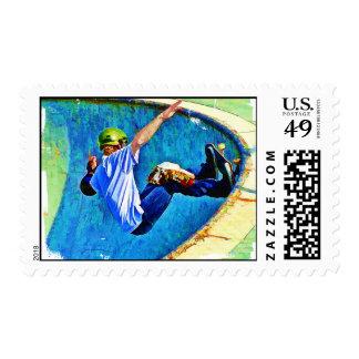 Skateboarding in the Bowl Postage Stamp