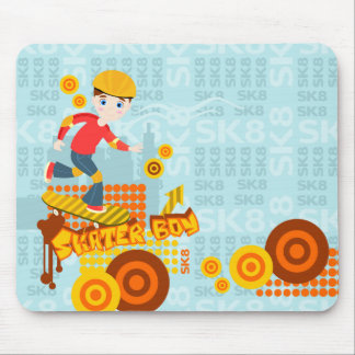 Skateboarding kid party mouse pad