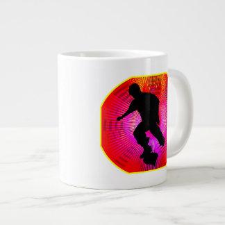 Skateboarding on Fluorescent Starburst Large Coffee Mug