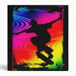 Skateboarding on Rainbow Grunge 3 Ring Binders