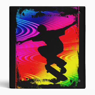 Skateboarding on Rainbow Grunge Binder