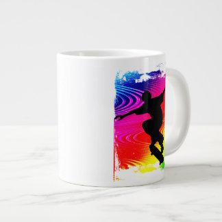 Skateboarding on Rainbow Grunge Large Coffee Mug