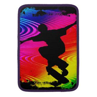 Skateboarding on Rainbow Grunge MacBook Air Sleeve