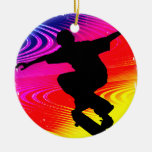 Skateboarding on Rainbow Grunge Christmas Ornaments