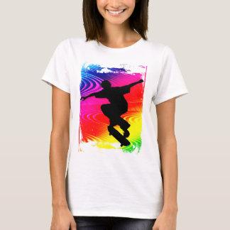 Skateboarding on Rainbow Grunge T-Shirt
