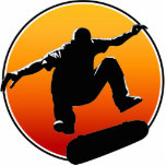"Skateboarding ornament<br><div class=""desc"">Cool skateboarder silhouette looks great on an ornament to hang on the Christmas tree,  or anywhere in your room!</div>"