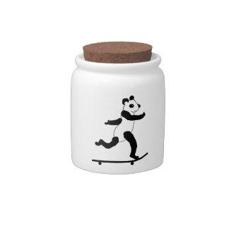 Skateboarding Panda Candy Jars