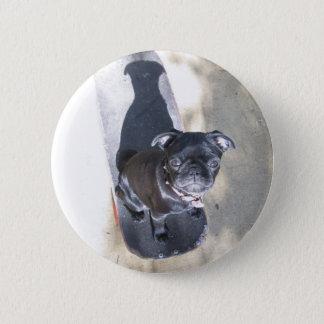 Skateboarding Pug Button (Photo)