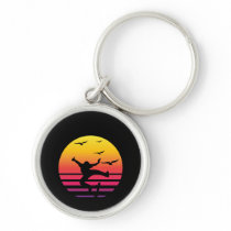 Skateboarding retro sunset, #Skateboarding Keychain