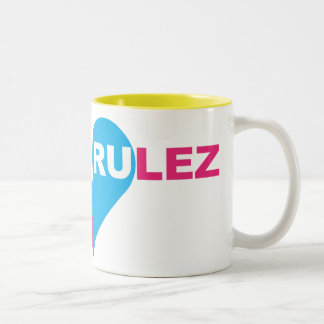 skateboarding rulez Two-Tone coffee mug