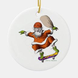 Skateboarding Santa Ceramic Ornament