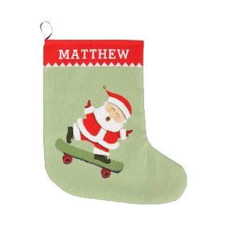 skateboarding Santa Large Christmas Stocking