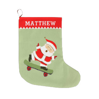 skateboarding Santa Large Christmas Stocking