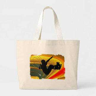 Skateboarding Silhouette in the Bowl Large Tote Bag