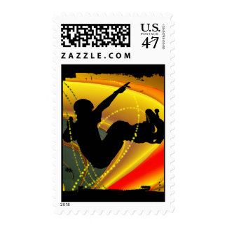 Skateboarding Silhouette in the Bowl Postage