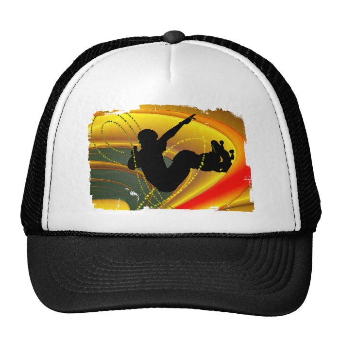 Skateboarding Silhouette in the Bowl Trucker Hat