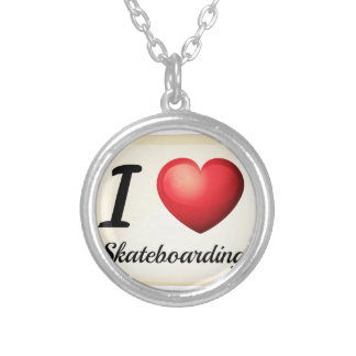 Skateboarding Silver Plated Necklace