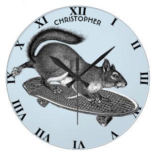 Skateboarding Skater Squirrel Etching Funny Large Clock