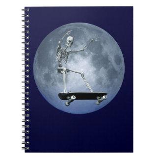 Skateboarding Skeleton Spiral Note Book