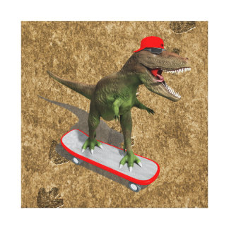 Skateboarding T-Rex Stretched Canvas Print