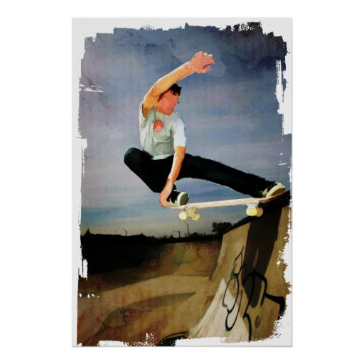 Skateboarding the Wall Print