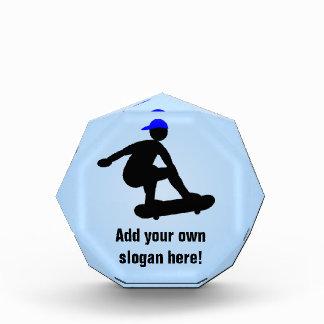 Skateboarding Theme - Skater in Cap - Custom Text Acrylic Award