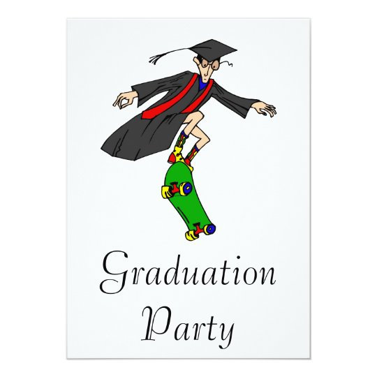 Skateboarding to graduation card