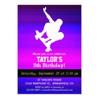 Skateboarding; Vibrant Violet Blue and Magenta 5x7 Paper Invitation Card