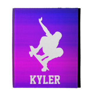 Skateboarding; Vibrant Violet Blue and Magenta iPad Folio Case