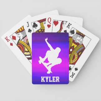 Skateboarding; Vibrant Violet Blue and Magenta Playing Cards