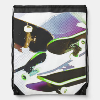 Skateboards - urban sports collage drawstring backpack