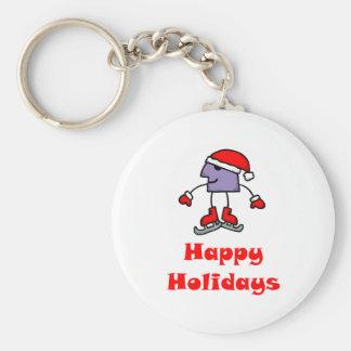 SkateChick Happy Holidays Basic Round Button Keychain