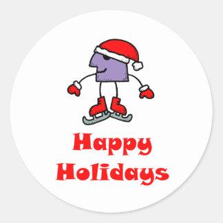 SkateChick Happy Holidays Classic Round Sticker