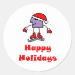 SkateChick Happy Holidays Round Sticker