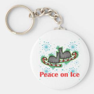 SkateChick Peace On Ice Basic Round Button Keychain