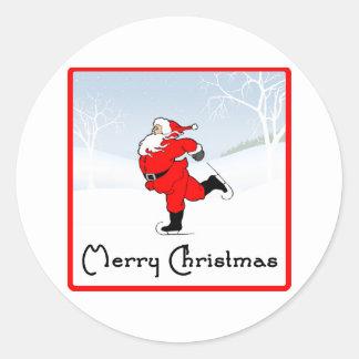 SkateChick Santa Classic Round Sticker