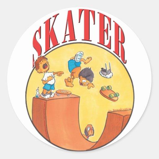 Skater #4 pegatina redonda